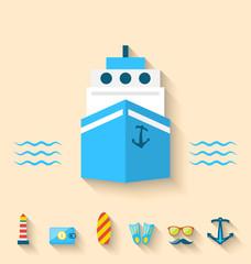 Flat set icons of cruise holidays and journey vacation, minimal