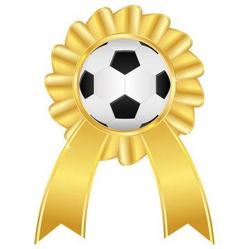 Soccer ball on golden award badge