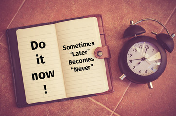 "Inspiration quote : ""Do it now!,Sometime later becomes never"""