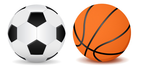 Basketball ball and soccer ball