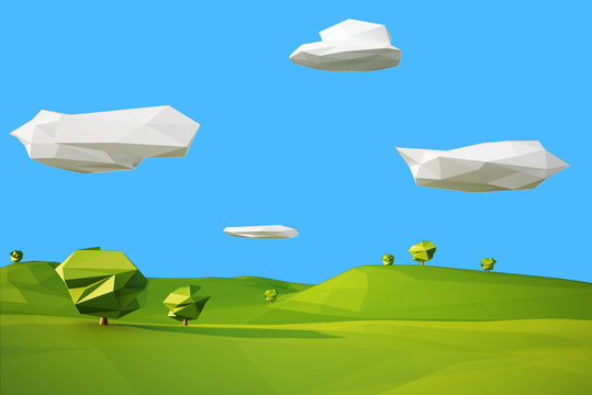 low poly landscaped with lawn and trees