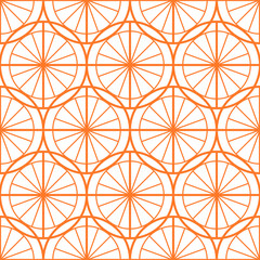seamless pattern: orange circles and lines