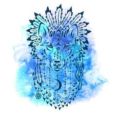 Wolf in war bonnet, hand drawn animal illustration