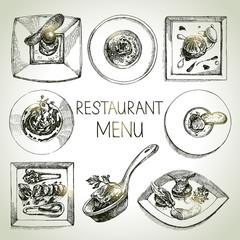 Hand drawn sketch restaurant food set. European cuisine menu