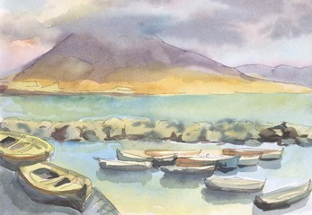Naples. View of the volcano Vesuvius. Boats on the shore of the sea. Painting. Watercolor