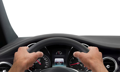 Driving hands steering wheel background isolated Wall mural