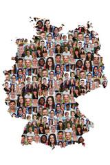 Deutschland Karte Menschen junge Leute Gruppe Integration multik