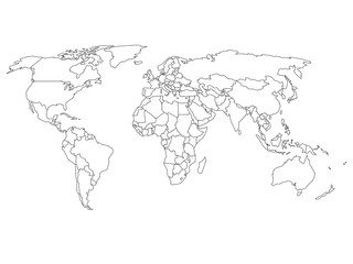 Wall Mural - World map with country borders