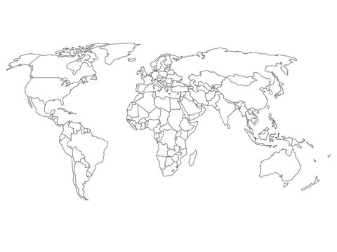 World map with country borders