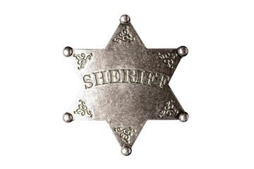 Wild West Sheriff badge isolated on white background.
