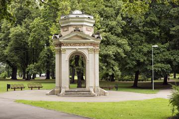 The old gazebo in the Park Kronvalda in eclectic style, built in 1901. Riga, Latvia
