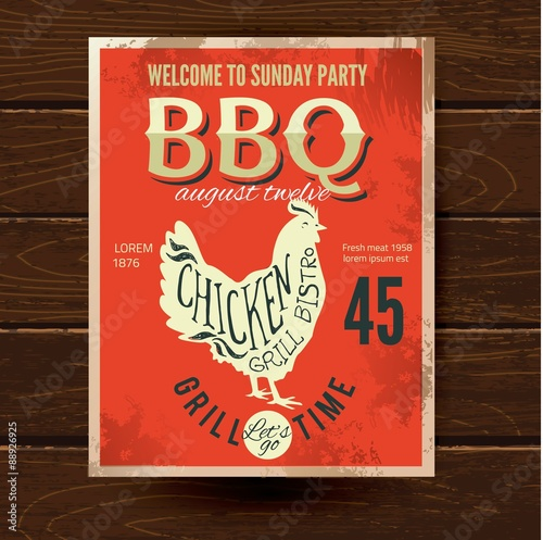 Barbecue party invitation bbq brochure menu design fichier vect - Organiser barbecue party ...