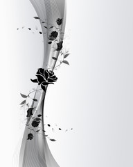 Grey background with black flowers .
