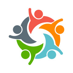 Teamwork People logo. Image of five persons