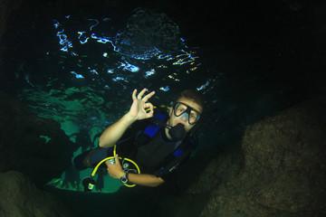 Scuba diver signals okay