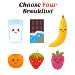 Choose Your breakfast. Healthy lifestyle breakfast. Cute Kawaii