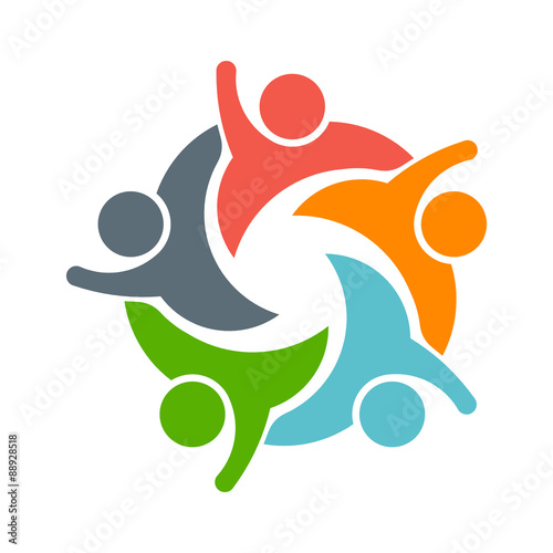 teamwork people logo image of five persons stock image and royalty