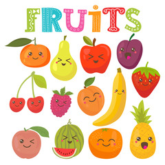 Cute kawaii smiling fruits. Healthy style collection