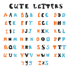Funny alphabet letters. Hand drawn fonts
