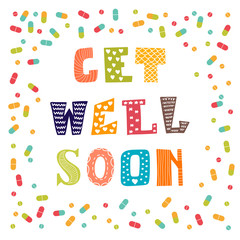 Get well soon card with pills. Greeting card