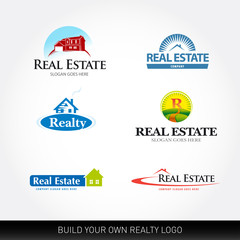 Real estate vector logotypes set. Real Estate logo design template. Realty logos.
