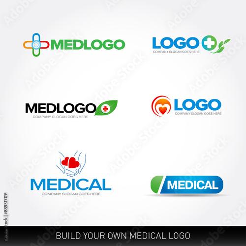 medical and health logo design templates set vector illustration