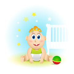 Cute smiling baby cartoon with toy ball,stars and baby bed on blue background, vector illustration