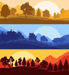 Forest wood mountain background vector set concept landscape