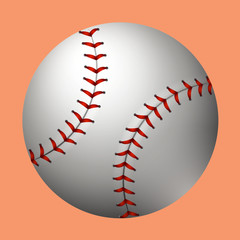 Plain baseball on orange background