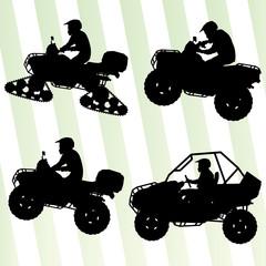 All terrain vehicle quad motorbikes and dune buggy riders illust