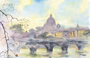 Rome. The Vatican. View of the Cathedral of St. Peter. Painting. Watercolor