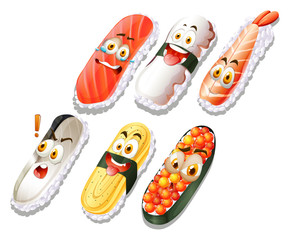 Sushi set with faces