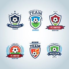 Soccer logo. Football logo. Set of soccer football crests and logo template emblem designs, logotypes design concepts of football icons. Collection of Soccer Themed T shirt Graphics
