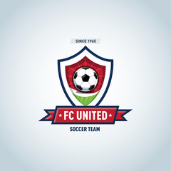Soccer football badge Logo design template, sport logotype template. Soccer Themed T shirt. Football logo. Vector illustration.