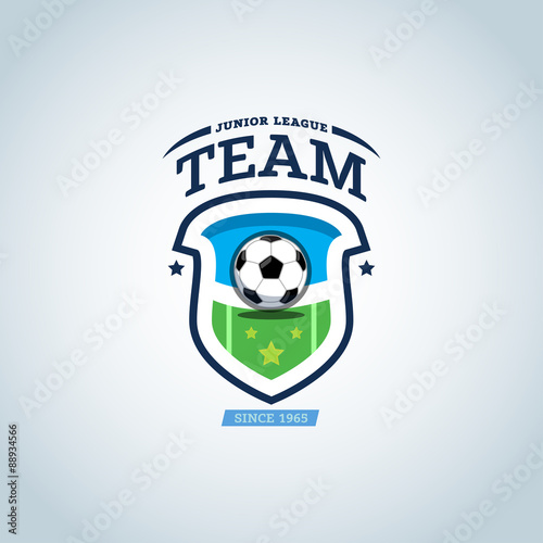 soccer logo green and dark blue soccer football badge logo design