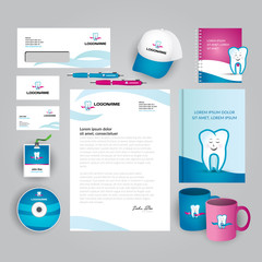 Dental clinic, office, oral medicine, stomatology corporate identity template with colorful abstract logo. Vector company style for brandbook and guideline. Documentation for business.