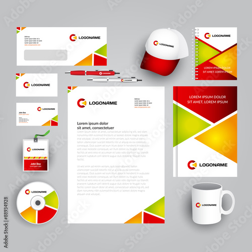 Red green and orange corporate identity template with logo red green and orange corporate identity template with logo stationery template vector company spiritdancerdesigns Choice Image
