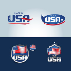 USA and made in USA icons. Set of vector icons, labels, logos.