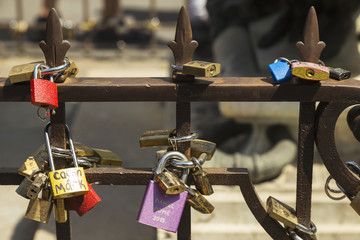 Locks of romance and love in Florence (Firenze)