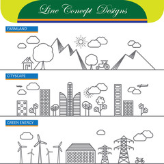 vector line concept icons of farmland cityscape and go green ene