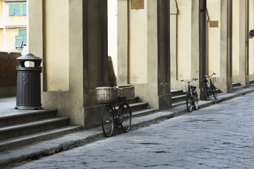 Acrylic Prints Old abandoned buildings Bikes on the streets of Firenze (Florence)