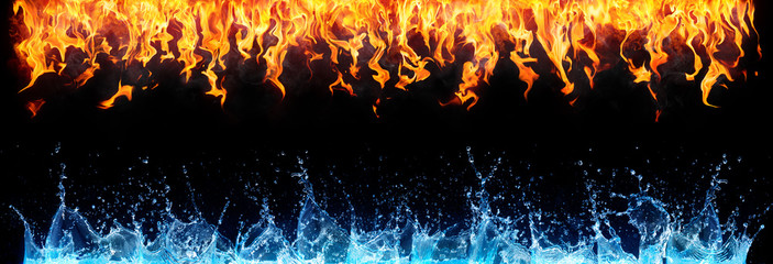 Photo on textile frame Fire / Flame fire and water on black - opposite energy