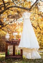 white wedding dress on the tree