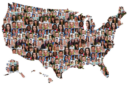 USA map multicultural group of young people integration diversit