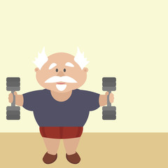 Active pensioner is engaged in the gym, lifting weights