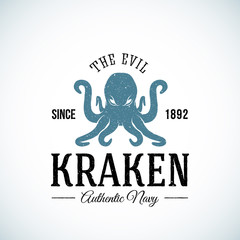 The Evil Kraken Authentic Navy Abstract Vector Logo Template