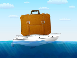 Concept of cruise traveling by sea. Suitcase on yacht sailing
