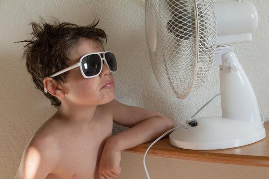 boy with fan