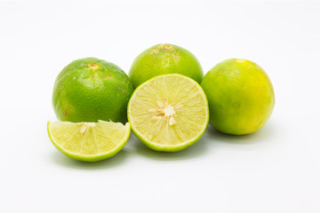 Citrus lime fruit segment on white background