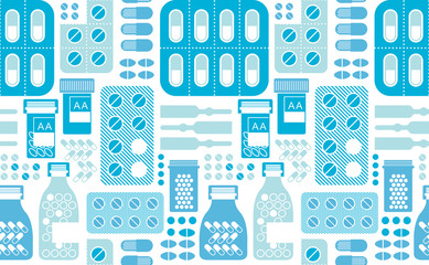 Seamless background with pills silhouettes.